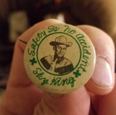 Vintage 1950s Sky King Western Cowboy Safety is no Accident Pin Pinback