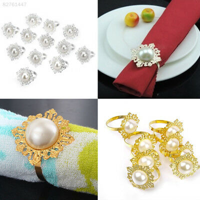 4B5D Luxurious 12pcs Pearl Designed Napkin Ring Party Wedding Banquet Table Deco