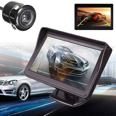 """Wired Reverse Camera + 4.3"""" LCD Monitor Display Car Rear View Wide Angle Set New"""