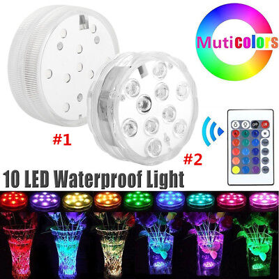 Waterproof 10 LED RGB Submersible Light Party Vase Lamp With Remote Control SR