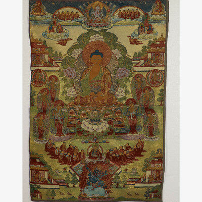 Tibet Collectable Silk Hand Painted Buddhism Portrait Thangka MK023