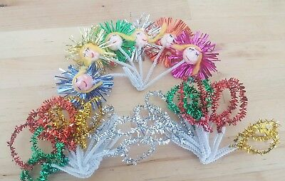 Lot 28 VINTAGE CHRISTMAS PACKAGE TIE-ON DECORATIONS 6 Starburst Girls 22 Circles
