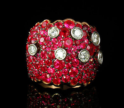 FARAONE RARE NATURAL 8.20ct FINE BURMESE RUBY DIAMOND 18K GOLD WIDE CLUSTER RING