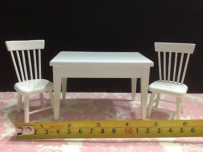 Dollhouse Miniature Kitchen Furniture White Wood Dining Table 2 Chair 1:12