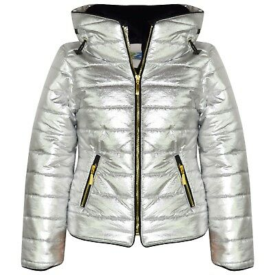 Kids Girls Jacket Metallic Silver Quilted Padded Puffer Bubble Fur Collar Coat