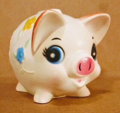 Vintage 1959's Sanitoy Piggy Bank Hard Plastic With Flowers Made in USA-