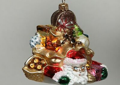 """SEWERYNSKI SANTA CRUSHED BY GIFTS Glass Holiday Tree Ornament 4.5"""""""