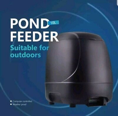 Outdoor Automatic Fish Feeder Timer High Capacity Pond Feeding Dispenser 10L