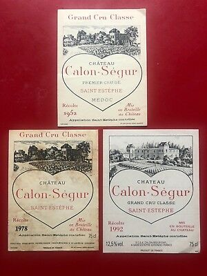 3 étiquettes / wine labels CALON SEGUR 1952 1978 1992