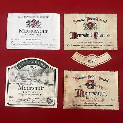 4 étiquettes / wine labels MEURSAULT Forges 1977...