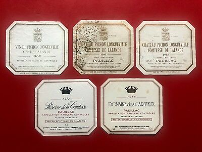 5 étiquettes / wine labels PICHON COMTESSE 1960... et SECONDS
