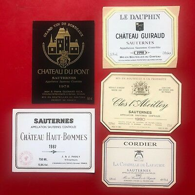 5 étiquettes / wine labels SAUTERNES Seconds Vins