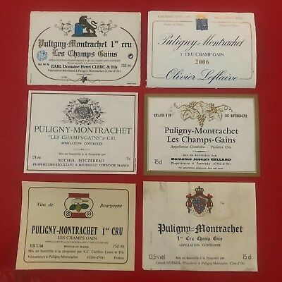 6 étiquettes / wine labels PULIGNY Champ Gains...