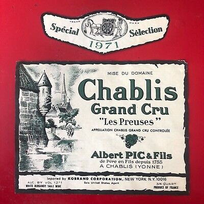 1 étiquette / wine label CHABLIS Grand Cru Les Preuses 1971 New York