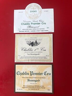 3 étiquettes / wine labels CHABLIS 1er Beauregard 1996...