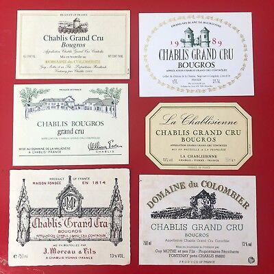 6 étiquettes / wine labels CHABLIS Grand Cru Bougros 1989...