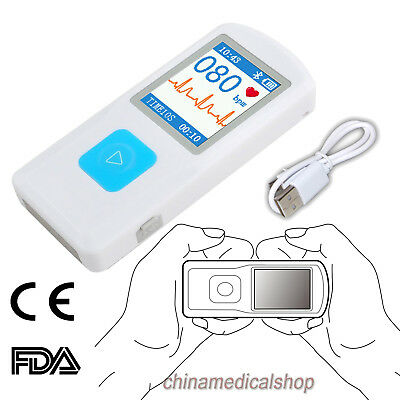 1 Channel ECG/EKG Monitor Cardiac Electrocardiograph Bluetooth USB PC Software