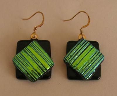 "Handmade Dichroic + Art Glass Freeform Earrings: "" Just The Beginning !"""