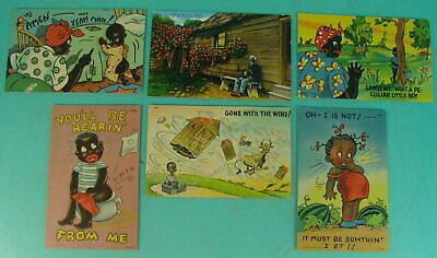 Lot of 6 Early Rare Vtg Black African American Americana Colored Post Cards