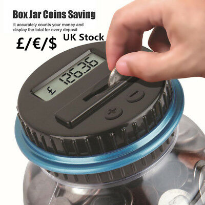 UK Electronic LCD Coin Money Counting Jar Box Saving Digital Piggy Bank Gift R