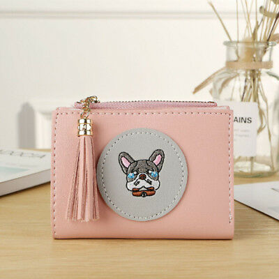 Animal Small Dog Women/Girl PU Leather Wallet Zipper Card Holder TO