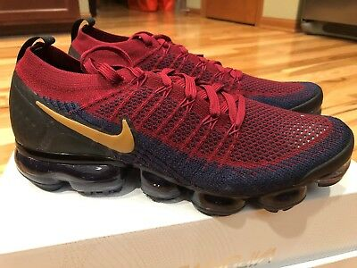Nike Air Vapormax Flyknit 2 Olympic Team Red Wheat Obsidian 942842-604 Size 11.5
