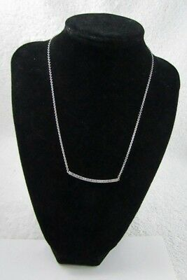 """Delicate 14KT White Gold ITALY Diamond Bar Attached Pendant Choker Necklace 18 """""""