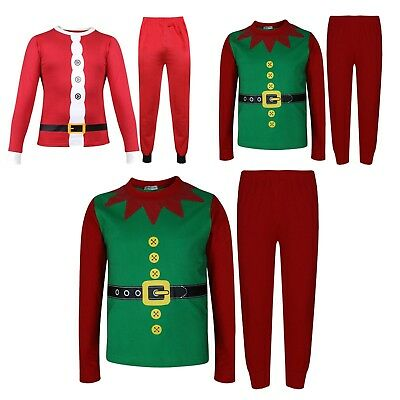 Kids Girls Boys Christmas Santa Claus & Elf Costume Xmas Pyjamas Nightwear 2-6Yr