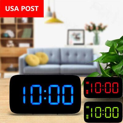 Alarm Clock Large Digital LED Display USB/Battery Operated Sound Control Loud US
