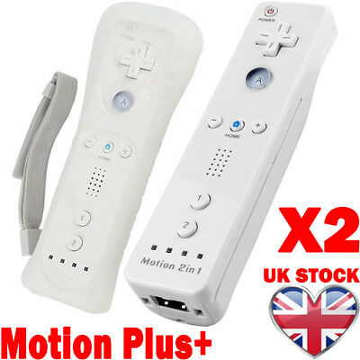 2x Wiimote Built in Motion Plus Inside Remote Gesture Controller For Wii & Wii 2