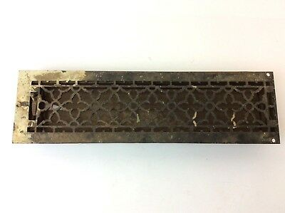 Antique Old Ornate Cast Iron Metal Long Rectangular Floor Grate Heating Vent