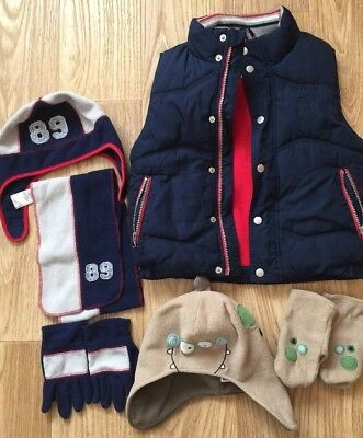 Debenhams J JEANS Padded Body Warmer Gilet & Mothercare Hat Gloves size 5-6 age