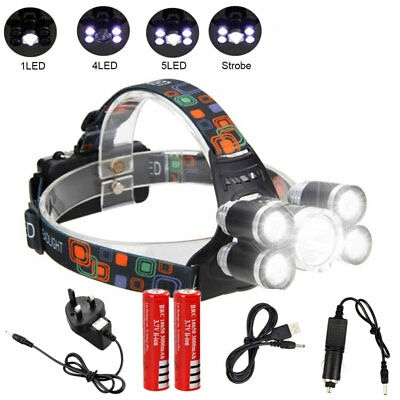 Super Bright 90000LM 5T6 LED Rechargeable Head Torch Headlamp Lamp Light Hiking