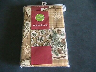 New Christmas Winter Wonder Lane Vinyl Tablecloth W/ Pine Cone Design  52X70 In