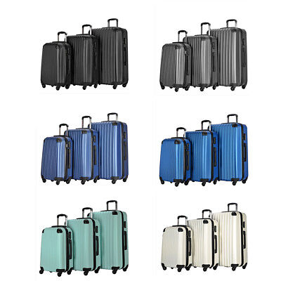 3 Piece Carry on Luggage Bag Set Travel ABS Trolley Suitcase Spinner Wheels Case