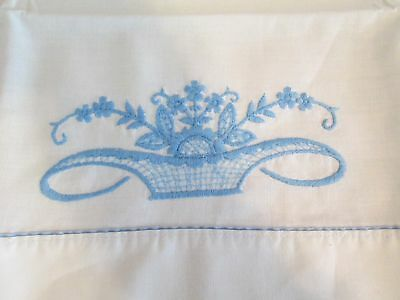 Vintage White & Blue Embroidered Standard Size Pillow Case