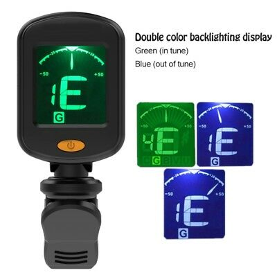 Chromatic Digital Tuner Clip-On for Acoustic Electric Guitar Bass Violin Ideal