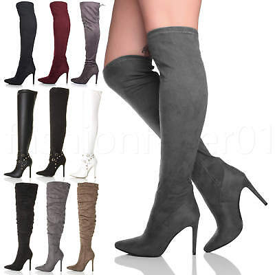 f58f3cac8e87d Womens Ladies High Heel Studded Stretch Over The Knee Pointed Thigh Boots  Size