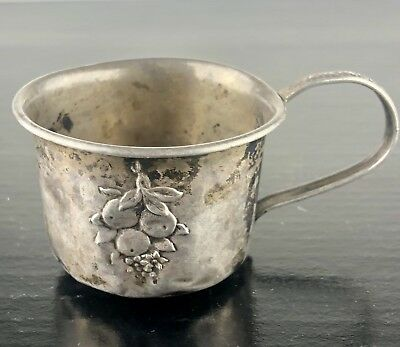 WEBSTER STERLING SILVER BABY CUP W/ Handle #22541 W/ EMBOSSED FRUIT and FLOWERS