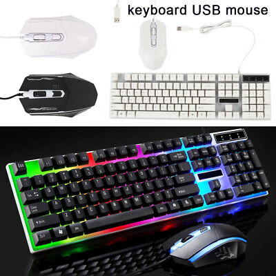 Computer Glowing Keyboard And Mouse Set USB Game Suite Mechanical Feel