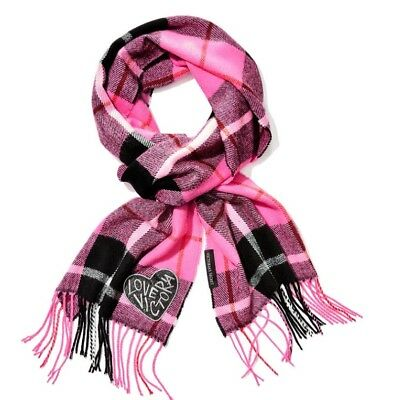 NWT Victorias Secret PINK Winter LONG Plaid Scarf Logo Christmas GIFT Nice