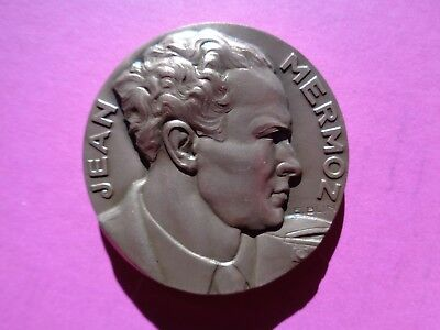 Medaille De Table Aviation Jean Mermoz Par E. Blin  1901 1936 Bronze