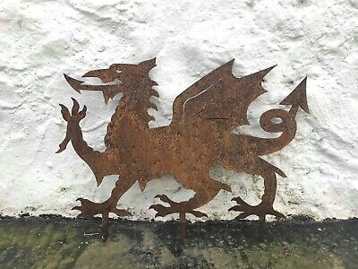 Welsh Dragon / steel sculpture / rusted finish / lawn ornament