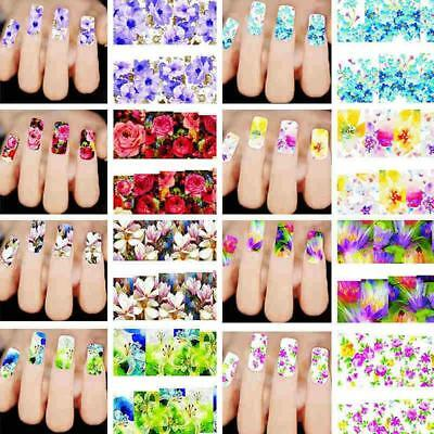 Lots 50 Sheet Colorful Decals Nail Art Stickers Water Transfer Tips Decoration