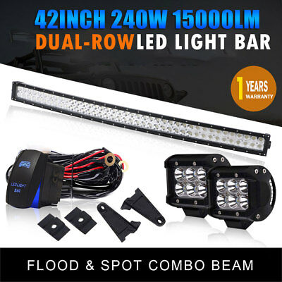 "42Inch LED Light Bar Combo +4"" CREE PODS OFFROAD SUV 4WD CAB ATV FORD JEEP"