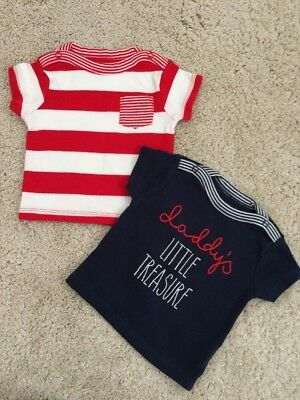 Mothercare Baby Girls T-shirts Tops X2 Size 0-3 Months Daddy's Little Treasure
