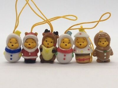 Disney Winnie the Peek-A-Pooh Figure Japan Christmas series set of 6 pieces