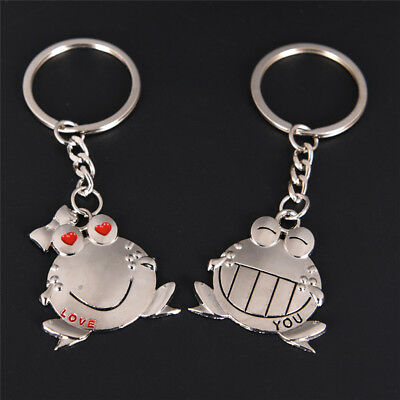 Couple Key Chain Cute Frog Pendant Lovers Keychain Keyring Ring Keyfob Gift、FO