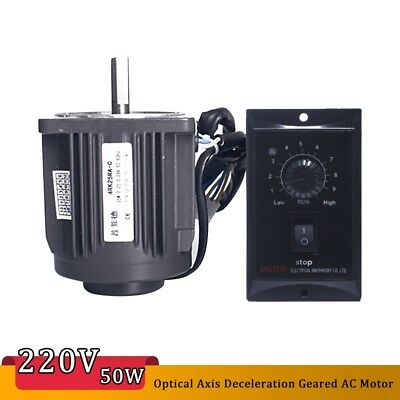 Optical Axis Deceleration Geared AC Motor 1250rpm w Speed Controller 220V 25W UK