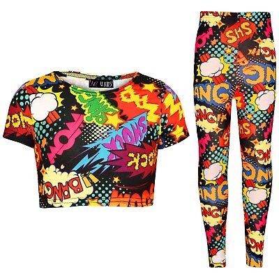 Kids Girls Wow Bang Boom Crop Top T Shirt Legging Loungewear Outfit Set 7-13 Yrs
